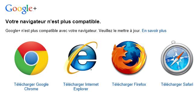 Incompatibilité Google