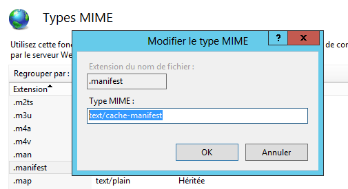 Ajouter le type MIME .manifest sous IIS