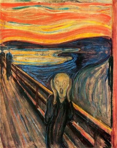 Le Cri (en norvégien : Skrik) est une œuvre expressionniste de l'artiste norvégien Edvard Munch (Auteur : Source Wikipédia)