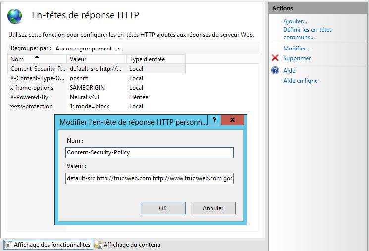 IIS 8 : Gestionnaire d'entête HTTP (CSP)