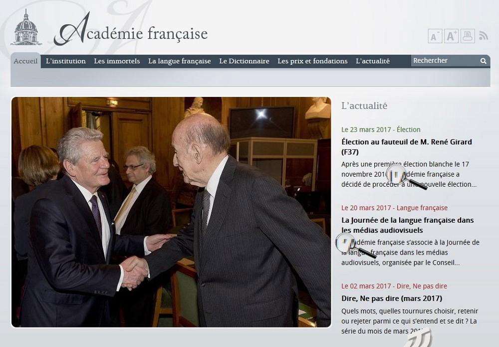 Page d'accueil du site de l'Académie française (2017) avec deux types d'apostrophes dans son propre nom!