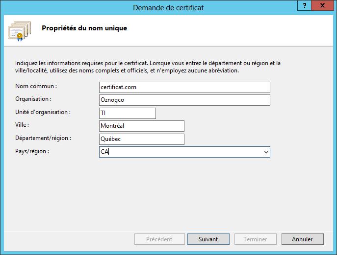 Renouveler un certificat SSL - Demande de certificat
