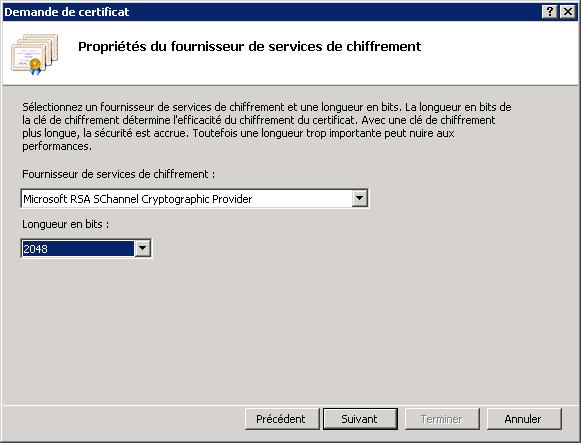 Renouveler un certificat SSL - Propriétés du fournisseur de services de chiffrement