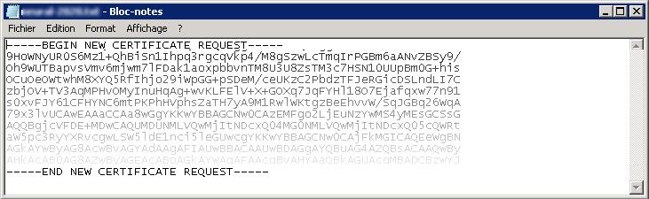 Renouveler un certificat SSL - Certificat SSL (texte)