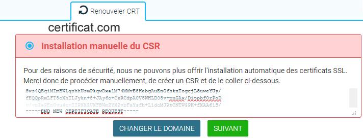 Renouveler un certificat SSL - Renouveler CRT (installation manuelle du CSR)