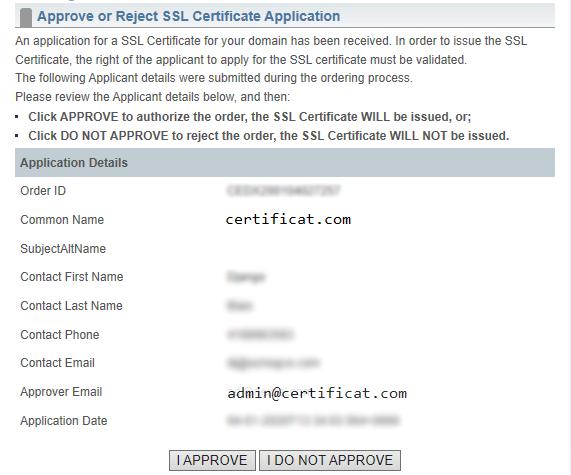 Renouveler un certificat SSL - Approuver ou rejeter la demande de certificat SSL