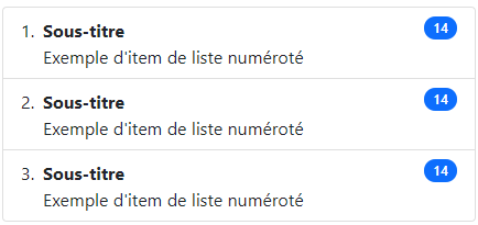 Exemple de groupe de liste numéroté